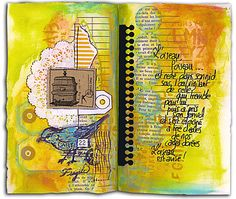 Comme Un Lundi – Archives – Manuéla – Scrap et Mixed Media en Couleurs Art Journal Pages, Art Pages, Art Journals, Junk Journal, Mixed Media Journal, Mixed Media Art, Altered Books Pages, Art Journal Inspiration, Journal Ideas