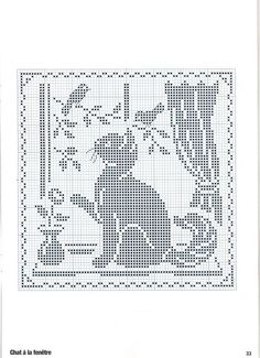 ru / Foto # 26 - Point de croix Collector Avril-Mai 2009 - natalytretyak Plus Cute Cat & Birds Cross Stitch or Filet Crochet Pattern cross stitch cat in window, köttur í glugga Perhaps this is a filet crochet pattern but I suppose should be same in cros Filet Crochet Charts, Cross Stitch Charts, Cross Stitch Designs, Cross Stitch Patterns, Cross Stitching, Cross Stitch Embroidery, Embroidery Patterns, Crochet Patterns, Crochet Ideas
