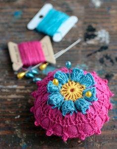 Linen  pincushion  crochet motif by namolio on Etsy, £9.00