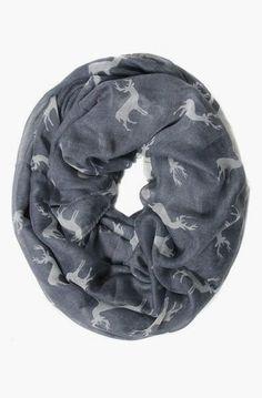 Reindeer Gray Print Infinity Scarf