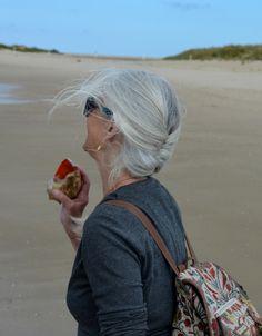 I Love the beach, and I Love my grey hair!