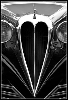 1934 Brewster Town Car ~ Identified by its swoopy fenders and a heart-shaped grille and selling for only $3,500. Brewsters were sold at Rolls-Royce showrooms