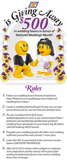 Quality Logo Products is Giving Away 500 Dollars in Wedding Favors! #QLPcontests