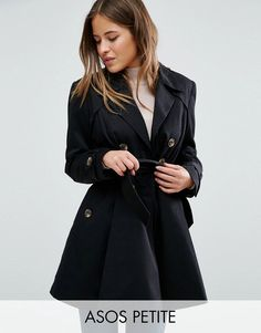 Get this Asos Petite's raincoat now! Click for more details. Worldwide shipping. ASOS PETITE Skater Mac - Black: Petite coat by ASOS PETITE, Midweight woven fabric, Silky-feel lining, Double-breasted button placket, Belted waist, Functional pockets, Regular fit - true to size, Dry clean, 83% Polyester, 17% Cotton, Our model wears a UK 8/EU 36/US 4. 5�3�/1.60m and under? The London-based design team behind ASOS PETITE take all your fashion faves and cut them down to size. Say goodbye to al...