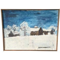 Image of Vintage Blue and White Landscape Oil Painting