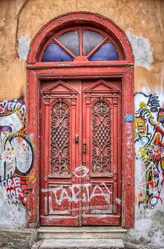 - Thessaloniki, Greece ~~ For more: - ✯… Old Doors, Entry Doors, Windows And Doors, Entrance, Door Detail, Unique Doors, Painted Doors, Door Knockers, Doorway