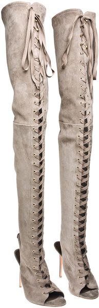These ate waaaay longer than my entire leg, but I luv 'em!! Gianvito Rossi Thigh High Lace-up Boot