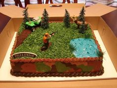 Hunting Themed Cake I want this for nicks grooms cake it's perfect it even has his name on it . Hunting Themed Cake I want this for nicks grooms cake it's Birthday Cakes For Men, Hunting Birthday Cakes, Fish Cake Birthday, Cakes For Boys, Birthday Fun, Hunting Cakes, Hunting Grooms Cake, Hunting Birthday Parties, Birthday Ideas