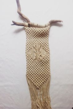 Macrame via simply grove.  Note to self: to keep work even, always work in hanging position to avoid work sagging at top like this, especially if working with branches.