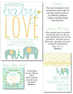 gender reveal baby shower, gender neutral baby shower, elephant baby shower invites, safari baby shower, baby reveal shower invites, shower invitations via Party Box Design