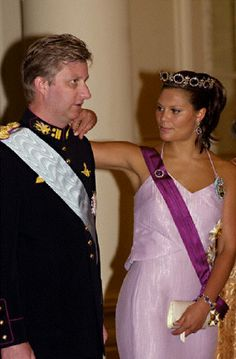 Prince Philippe with Victoria of Sweden during Royal couple of Sweden State Visit to Belgium on 8 May 2001