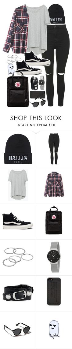 """""""Outfit for uni with vans and ripped jeans"""" by ferned ❤ liked on Polyvore featuring Brian Lichtenberg, Topshop, Zara, WithChic, Vans, Fjällräven, Apt. 9, Skagen, Balenciaga and Marc by Marc Jacobs"""