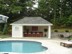 Give the pool house a small kitchen and serving station to turn it into a cool.backyard pool house pool house ideas backyard pool home designs. Pool House Shed, Pool House Bathroom, Pool House Plans, Swimming Pool House, Tiny House, Pool House Designs, Backyard Pool Designs, Modern Backyard, Backyard Pools