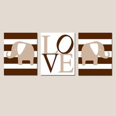 Elephant Stripe Love Trio  Set of Three 8x10 Nursery by Tessyla, $55.00