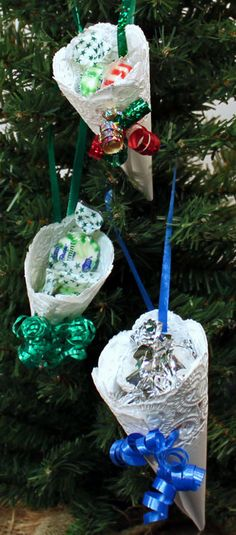 A paper doily and ribbon along with candy or small toys become a simple and fun paper doily cone ornament.