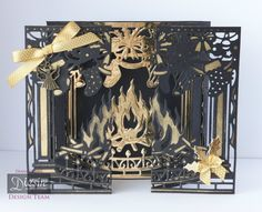 Diana Clews - Concertina Gatefold Fireplace - Christmas Create-a-Card die - Fireside - Matt Black cardstock - Gold Foil card - Die'sire Christmas Classiques: Robin & Foliage - Christmas Card Crafts, Christmas Cards To Make, Christmas Greeting Cards, Handmade Christmas, Christmas Ideas, Christmas Decorations, Crafters Companion Christmas Cards, Christmas Lodge, Christmas 2017
