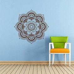 Wall Decal Vinyl Mural Sticker Art Decor Bedroom Yoga Kitchen Ceiling Mandala Menhdi Flower Pattern Ornament Om Indian Hindu Buddha (Z2842)