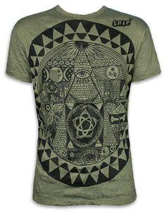 3c515a4c13b084 SURE Herren T-Shirt Pyramide All-sehendes Auge Größe M L XL Illuminati  Freimaurer Neue