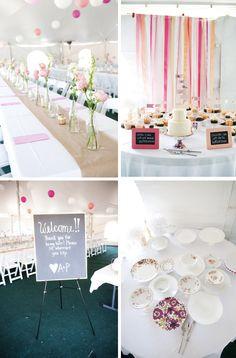 Adorable #weddingdecor details.  Ribbon backdrop, chalkboard signs, gold spray painted jars.