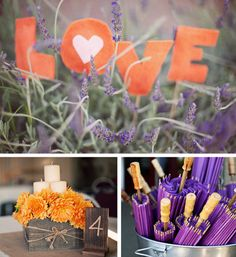 "orange and purple wedding centerpeices in a box | ... orange ""love"" 2. rustic centerpiece 3. purple parasols"