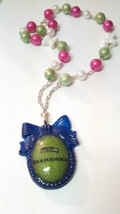 Seahawks Cameo Beaded Chain Necklace by PsychoBoutique on Etsy