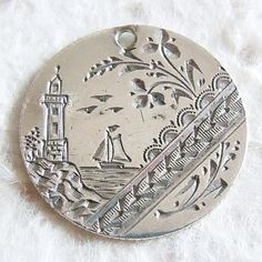 Ship and lighthouse double-sided hand-engraved love token ~ From A Genuine Find