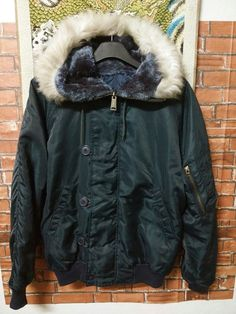 Vintage Military Army Parka Blue Navy Flight Type-N2B Hood Flying Man's Alpha Bomber Jacket Size Medium