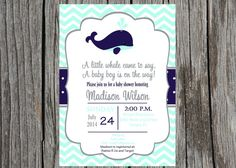 Nautical baby shower - Whale baby boyshower  Available now in 5x7 jpeg or PDF ONLY. **NOT sized for VistaPrint PLEASE READ ENTIRE LISTING BEFORE