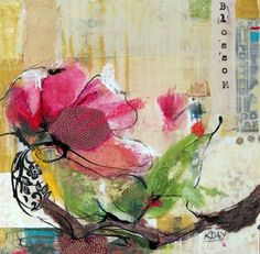 """Blossom, mixed media on canvas, 10"""" x 10""""  by Kellie Day"""