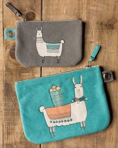 Llamarama Small Zipper Pouch - A small zipper pouch made from sturdy cotton is perfect for storing small accessories, loose change and more. A metallic zipper keeps contents secure, while a grommet tab adds convenience. Small Zipper Pouch, Contents, Coin Purse, Metallic, Change, Wallet, Cotton, Gifts, Bags