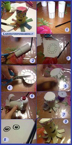 laboratori per bambini  riciclo rotoli polpo