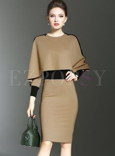 Cheap pencil dress, Buy Quality bodycon dress directly from China dress fashion women Suppliers: Elegant Batwing Sleeve Patchwork Bodycon Dress Long Sleeve Sheath Pencil Dress Women Autumn Fashion Evening Party Dresses Casual Work Dresses, Elegant Dresses, Dresses For Work, Trendy Dresses, Beautiful Dresses, Bodycon Dress With Sleeves, Sheath Dress, Cape Dress, Dress Long