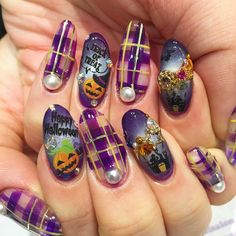 purple plaid halloween nails jillandlovers's photo on Instagram