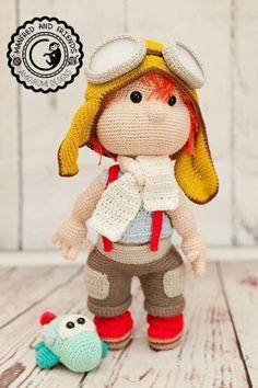 Doll, aviator, boy Crochet Fairy, Cute Crochet, Knit Crochet, Crochet Amigurumi, Amigurumi Toys, Crochet Doll Clothes, Crochet Dolls, Pet Toys, Doll Toys
