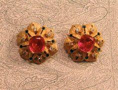 Jomaz Vintage Ruby Maharani Inspired Clip Earrings