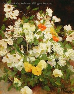 White Dogwood and Pansies - Oil by Kathy Anderson