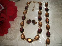 #Swarovski Signed Amber Gold Plated necklace, bracelet &  Clip earrings set, certificate of authenticity, blue embossed Swarovski Box... SALE $199.99..... Retail over $500