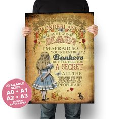 Alice in Wonderland Poster Print Wall Art - A3 A2 A1 A0 Sizes - Vintage Alice Bonkers - 260gsm Satin Paper #aliceinwonderland #aliceinwonderlandposter #madhatterprint