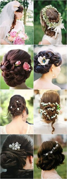 updo wedding hairstyles with flowers / http://www.himisspuff.com/bridal-wedding-hairstyles-for-long-hair/26/