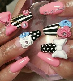 Pink black and white striped bow floral nails @swan_nails