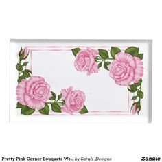 Shop Pretty Pink Corner Bouquets Wedding Table Card Holder created by Sarah_Designs. Wedding Bouquets, Wedding Favors, Metal Card Holder, Card Table Wedding, Birthday Places, Romantic Flowers, Table Cards, Wedding Supplies, Pink Roses