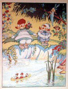 Vintage Raggedy Ann Andy Print, 1930's Book Plate, Johnny Gruelle Stor, Illustration Color Image