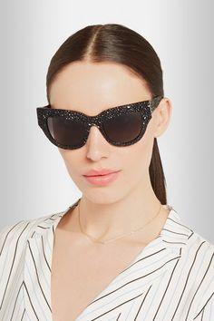 Anna-Karin Karlsson | 'Lush Lily' Black Cat-eye Textured-acetate Sunglasses @ net-a-porter.com