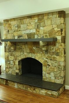 Stone fireplace facelift