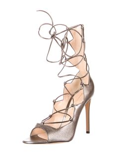 metallic lace-up heeled sandals #shoes #style #fashion