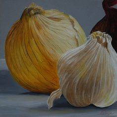 Oil Painting by Emily Page #food #stilllife #onion #garlic