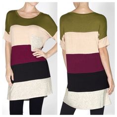 "Colorblock Tunic Top ⭐️LAST ONE!⭐️ ✳️Bundle to save 15%✳️ Olive, Taupe, and Burgundy  Front pocket Short Sleeves Round neck 95% Rayon, 5% Spandex Fits true to size. Has a loose, relaxed fit. Length: 32"" CC Boutique  Tops Tunics"