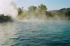 The Olympic-sized mineral pool is heated by four thermal geysers on the property that supply the mineral-rich water.