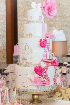 Elegant Pink & Gold Parisian Themed Cake - My daughter would love this cake