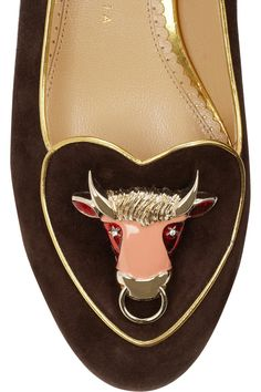 Charlotte Olympia | Taurus suede slippers | NET-A-PORTER.COM